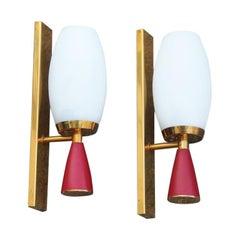 Pair of Midcentury Wall Sconces Red Gold White Stilnovo Style Italian Design