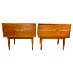 Pair of Midcentury Walnut and Brass Nightstands End Tables