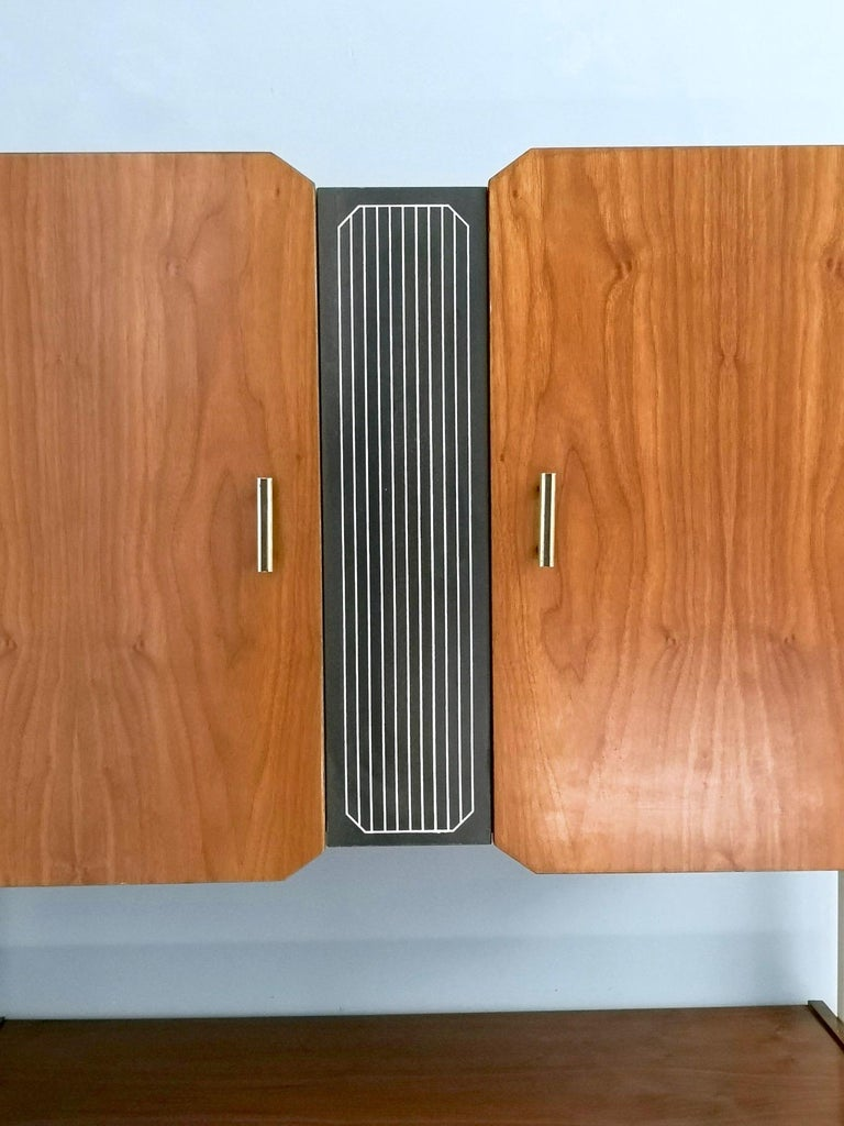 Pair of Midcentury Walnut and Lacquered Wood Cabinets, Italy, 1950s For Sale 3