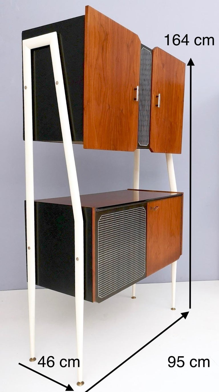 Pair of Midcentury Walnut and Lacquered Wood Cabinets, Italy, 1950s For Sale 8