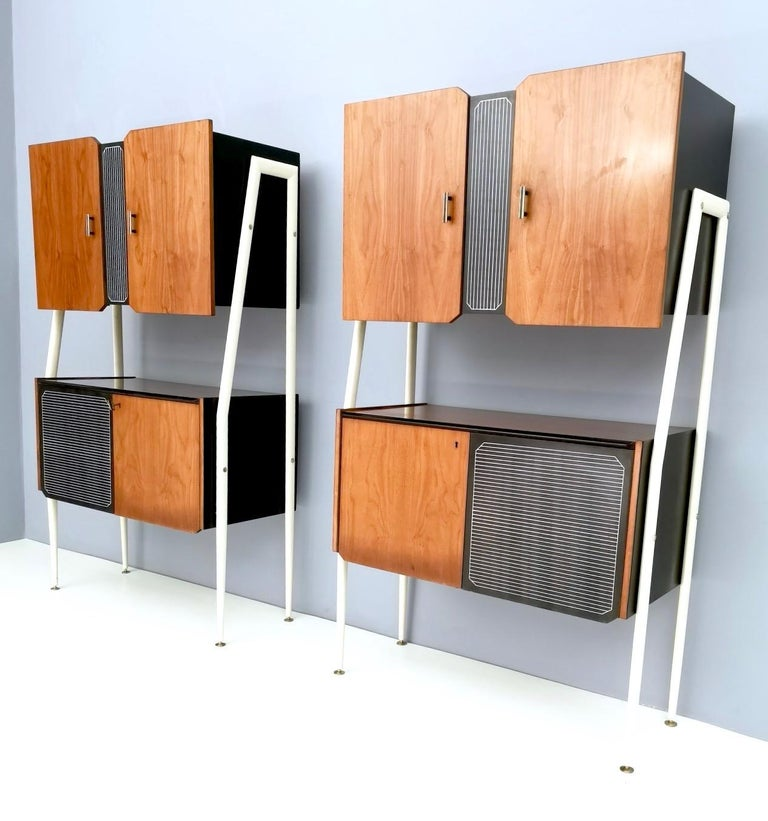 Mid-Century Modern Pair of Midcentury Walnut and Lacquered Wood Cabinets, Italy, 1950s For Sale