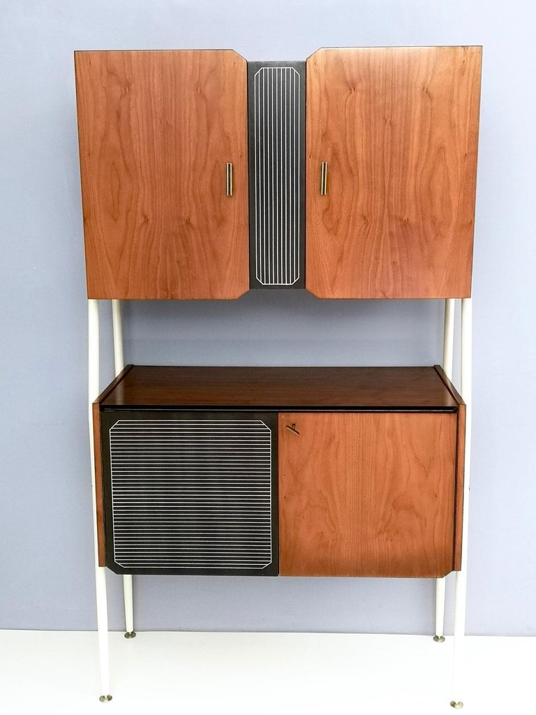 Mid-20th Century Pair of Midcentury Walnut and Lacquered Wood Cabinets, Italy, 1950s For Sale