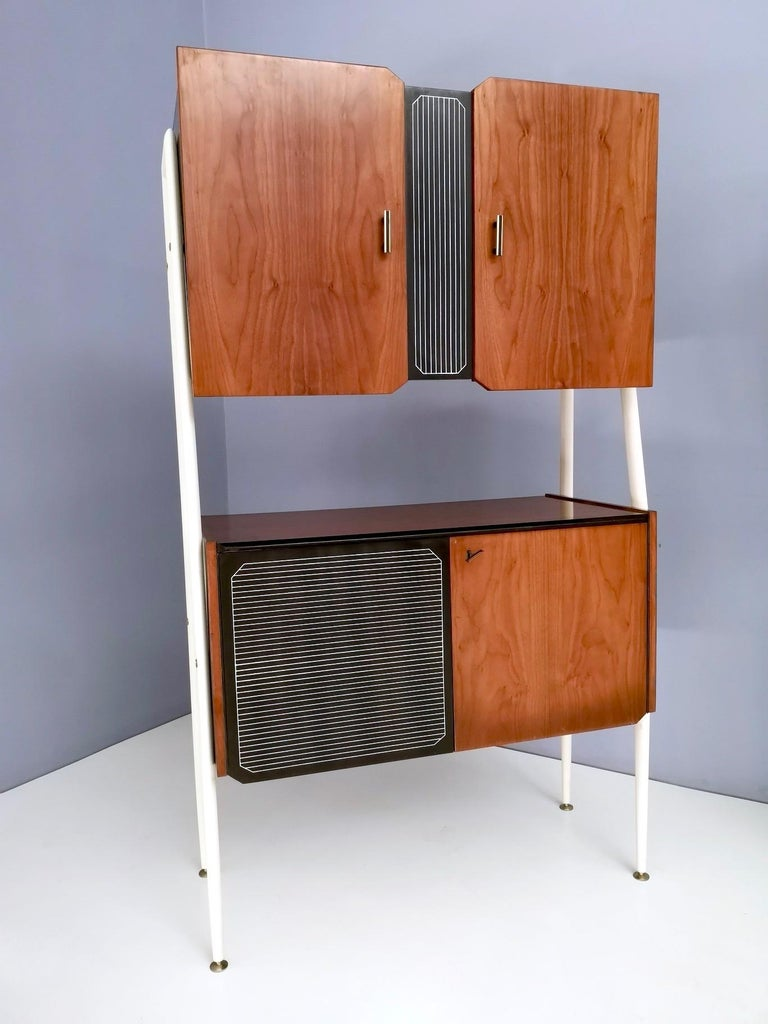 Brass Pair of Midcentury Walnut and Lacquered Wood Cabinets, Italy, 1950s For Sale