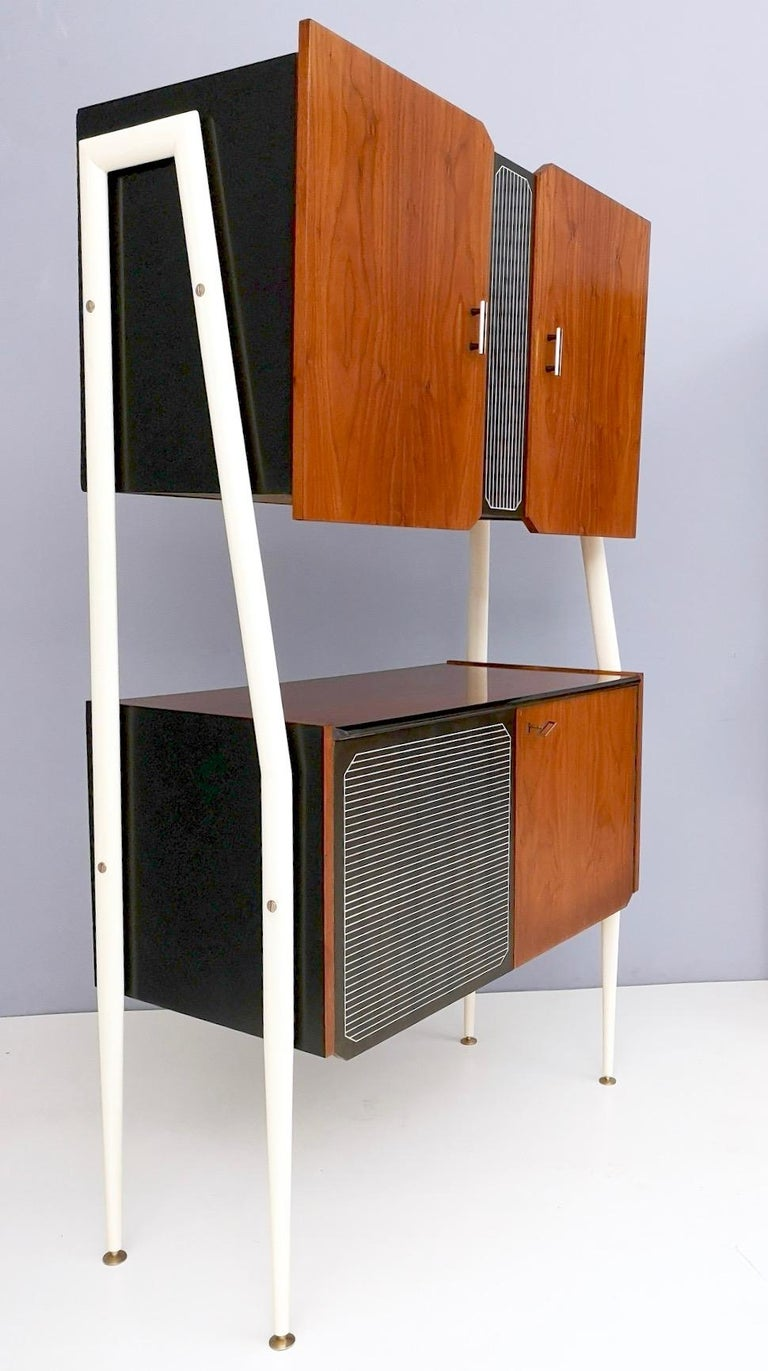 Pair of Midcentury Walnut and Lacquered Wood Cabinets, Italy, 1950s For Sale 1