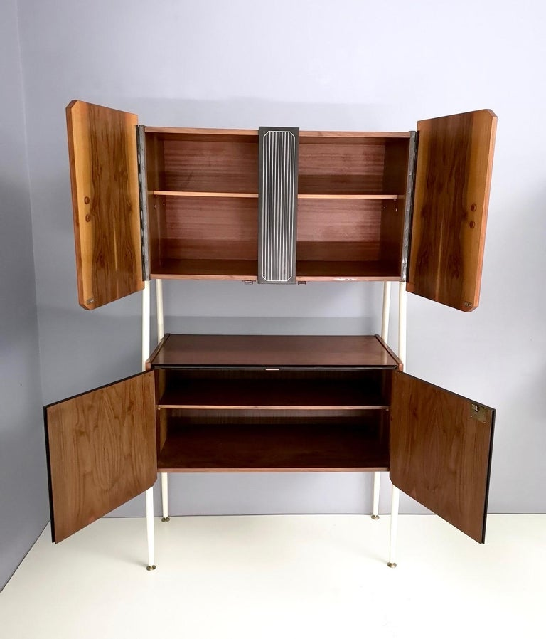 Pair of Midcentury Walnut and Lacquered Wood Cabinets, Italy, 1950s For Sale 2