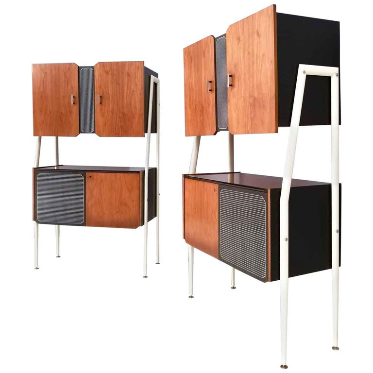 Pair of Midcentury Walnut and Lacquered Wood Cabinets, Italy, 1950s For Sale