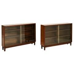 Pair of Mid-Century Walnut Bookcases