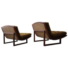 Pair of Midcentury Walnut and Cane Armless Scoop Lounge Chairs