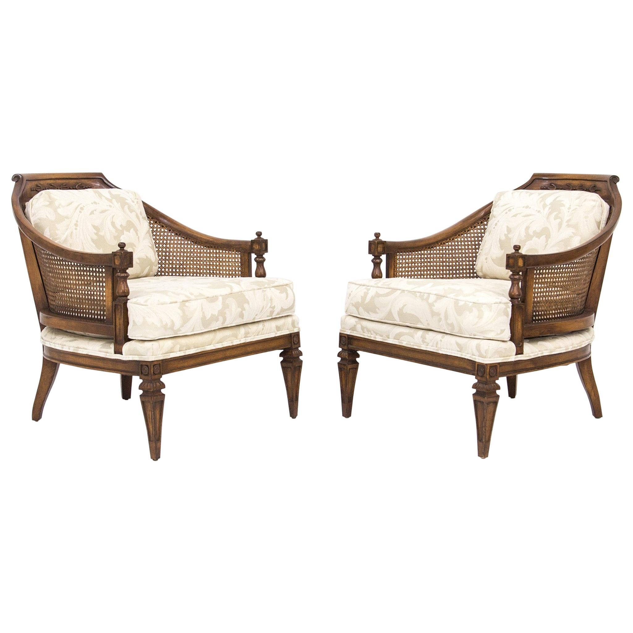 Pair of Mid-Century Walnut & Cane Barrel Back Club Chairs with White Upholstery