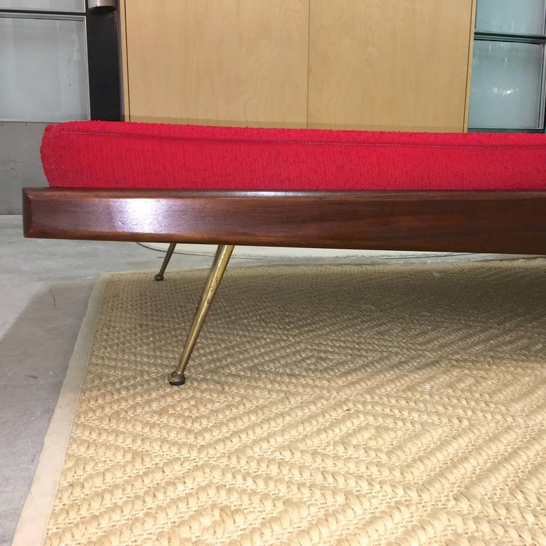 Mid-20th Century Pair of Midcentury Walnut Daybeds with Brass Legs after Robsjohn-Gibbings For Sale