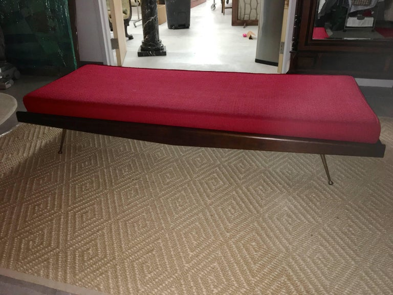 Pair of Midcentury Walnut Daybeds with Brass Legs after Robsjohn-Gibbings For Sale 2