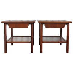 Pair of Midcentury Walnut End Tables, USA, 1960s