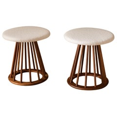 Pair of Mid Century Walnut Spindle Stools by Arthur Umanoff