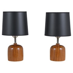 Pair of Mid-Century Walnut Table Lamps