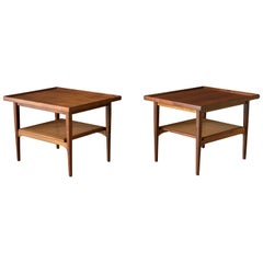 Pair of Mid Century Walnut Two-Tier Drexel Declaration End Tables