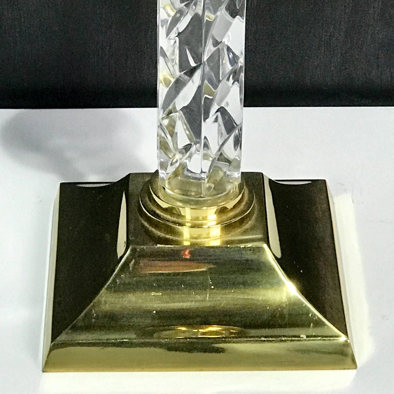 European Pair of Midcentury Waterford Crystal and Brass Candlesticks For Sale