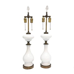 Pair of Midcentury White and Bronze Table Lamps