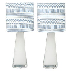 Pair of Mid-Century White Glass Table Lamps by Carl Fagerlund for Orrefors