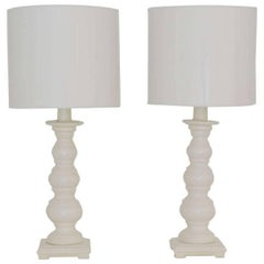 Pair of Midcentury White Glazed Ceramic Table Lamps