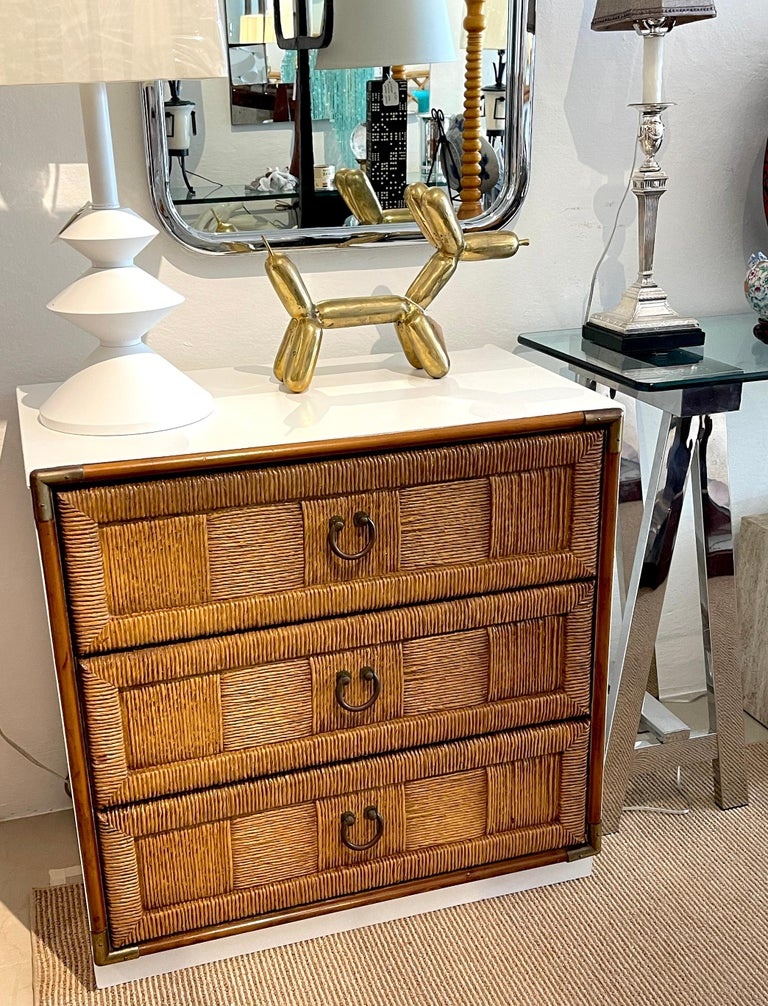 Pair of Mid Century White Lacquered Faux Rattan Chests or Nightstands  For Sale 4