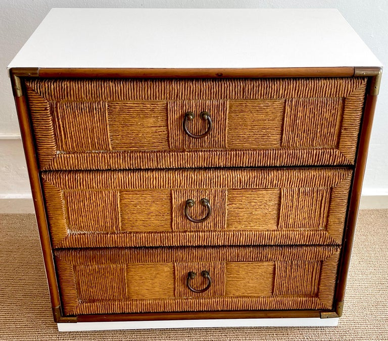 Mid-Century Modern Pair of Mid Century White Lacquered Faux Rattan Chests or Nightstands  For Sale