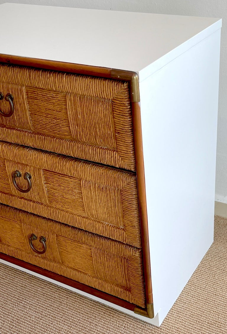 American Pair of Mid Century White Lacquered Faux Rattan Chests or Nightstands  For Sale