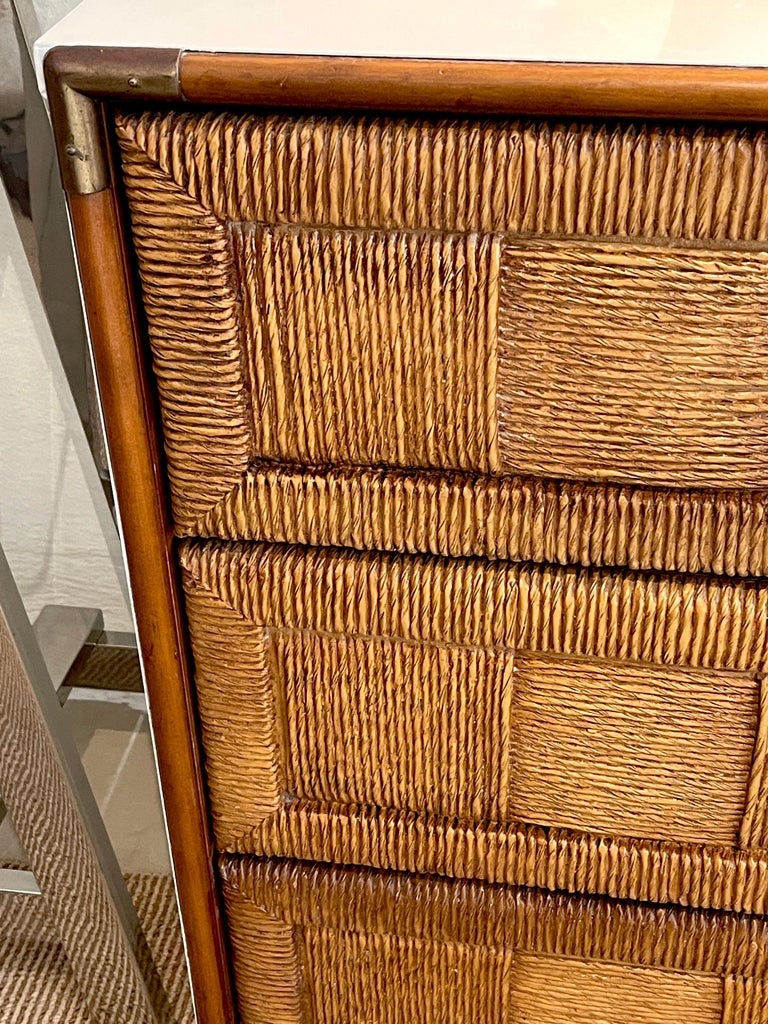 Pair of Mid Century White Lacquered Faux Rattan Chests or Nightstands  In Good Condition For Sale In West Palm Beach, FL