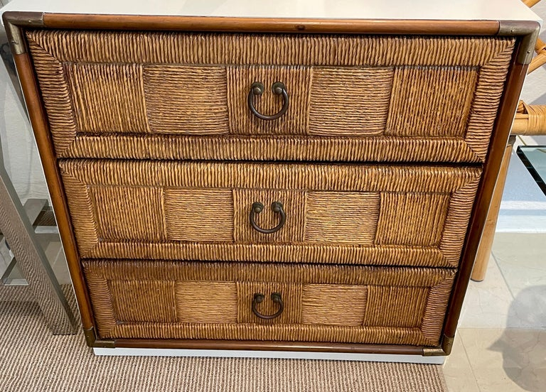 20th Century Pair of Mid Century White Lacquered Faux Rattan Chests or Nightstands  For Sale
