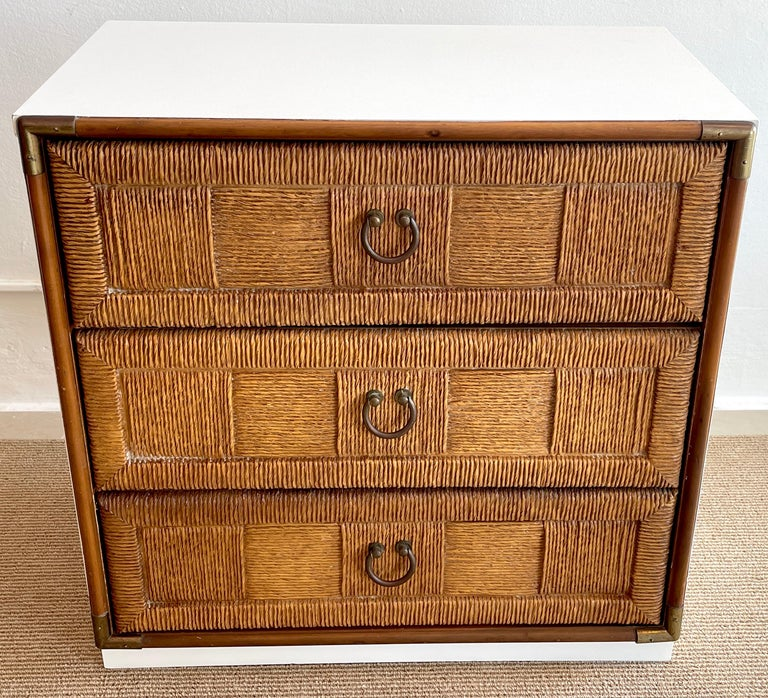 Pair of Mid Century White Lacquered Faux Rattan Chests or Nightstands  For Sale 1