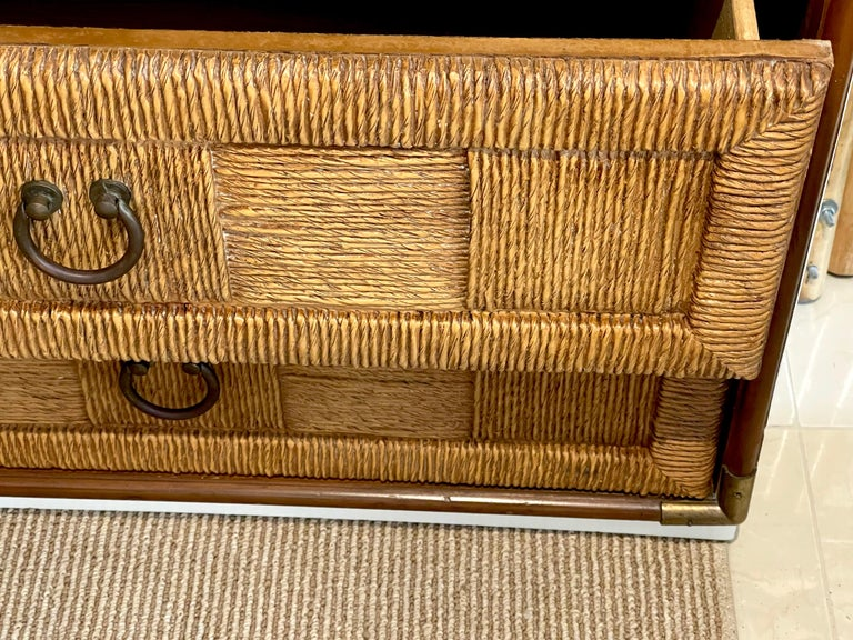 Pair of Mid Century White Lacquered Faux Rattan Chests or Nightstands  For Sale 2