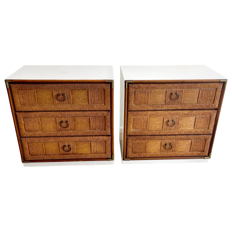 Pair of Mid Century White Lacquered Faux Rattan Chests or Nightstands  For Sale
