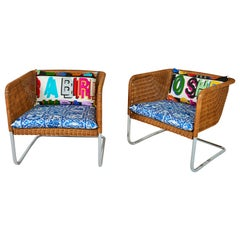 Pair of Mid-Century Wicker & Chrome Cantilever Chairs with Cushions