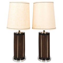 Pair of Midcentury Wood and Chrome Lamps