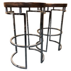 Pair of Mid Century Wood, Chrome & Cane Counter / Bar Stools