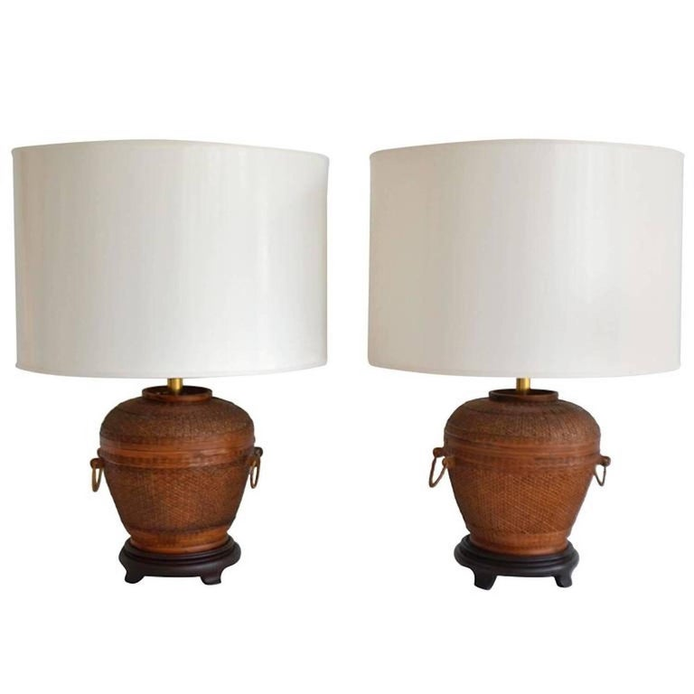 Pair of Midcentury Woven Reed Basket Form Table Lamps