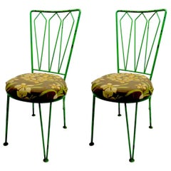 Pair of Mid Century  Wrought Iron Side Chairs after McCobb