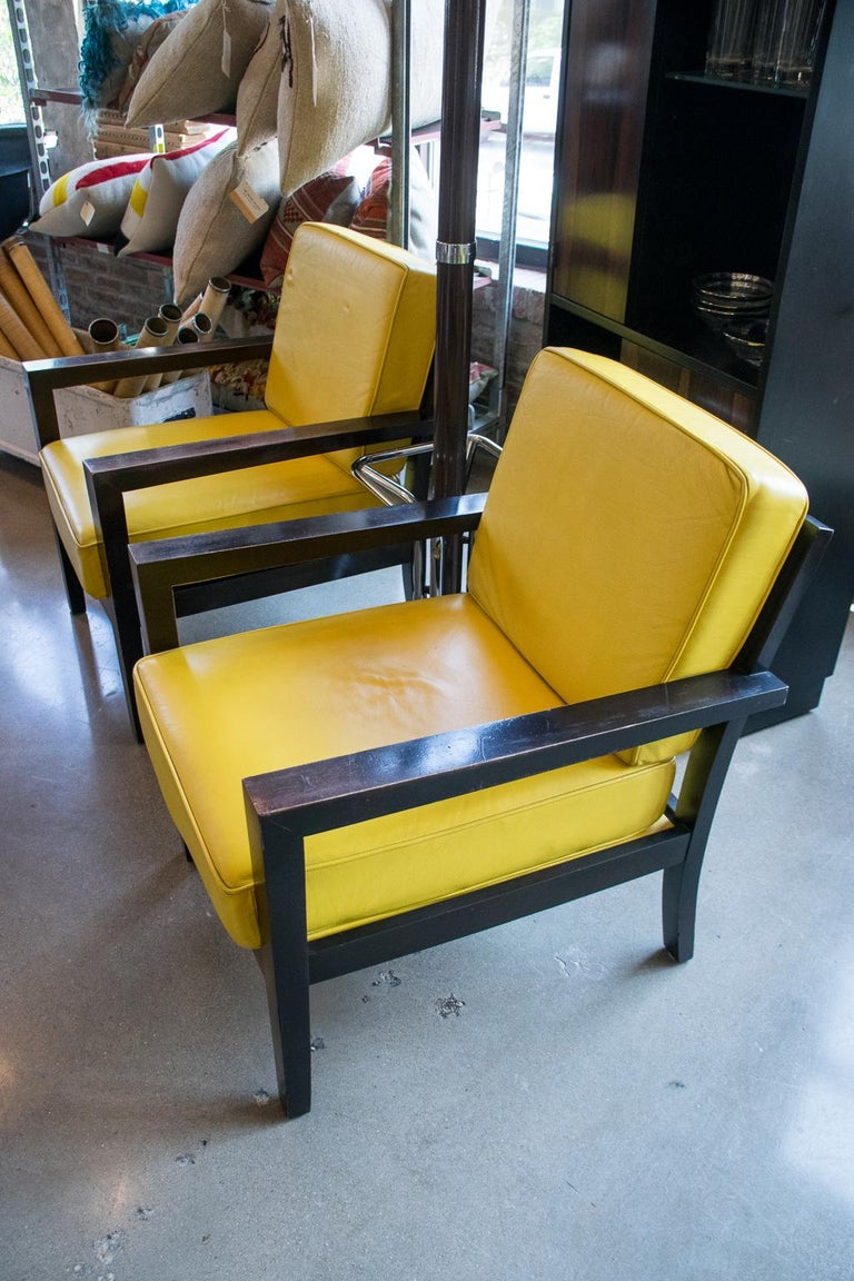 Mid-Century Modern Pair of Midcentury Yellow Leather Armchairs For Sale