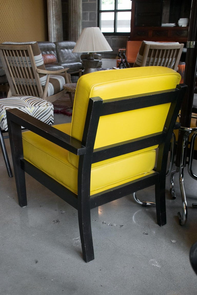 Unknown Pair of Midcentury Yellow Leather Armchairs For Sale