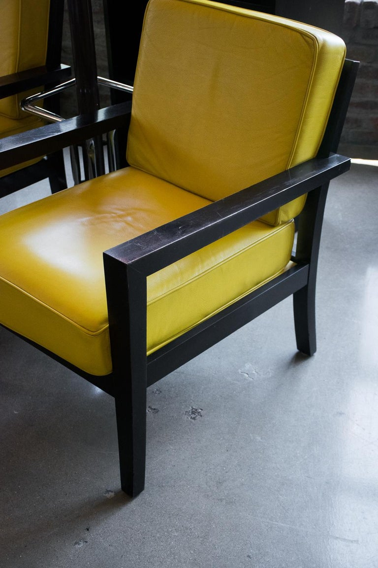 Pair of Midcentury Yellow Leather Armchairs In Good Condition For Sale In Austin, TX