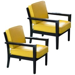 Pair of Midcentury Yellow Leather Armchairs