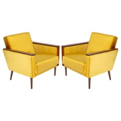 Pair of Midcentury Yellow Mustard Club Armchairs, 1960s, DDR, Germany