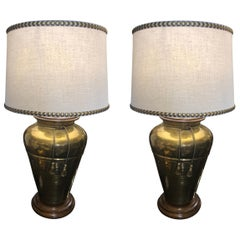 Pair of Mid-20th Century Frederick Cooper Hammered Brass Table Lamps