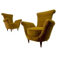 Pair of Midcentury 1950s Italian Armchairs in Mustard Velvet