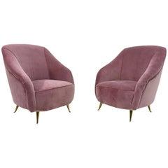 Pair of Midcentury 1950s Italian Armchairs in Pink Velvet