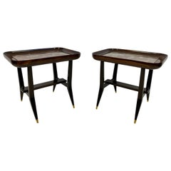 Pair of Midcentury 1960s Giuseppe Scapinelli Side Tables with Marble Tops