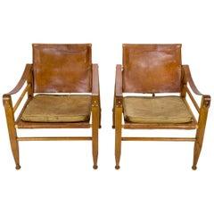 Pair of Midcentury Aage Bruun Safari Chairs, Denmark, 1960s