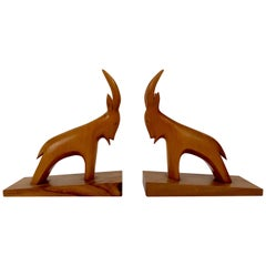 Pair of Midcentury, Abstract, Stein Böcks, in Cherry Wood from Austria