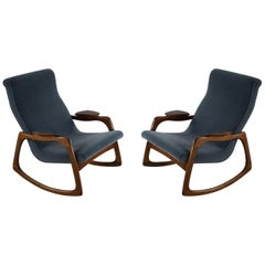 Pair of Midcentury Adrian Pearsall Blue Upholstered Walnut Rocking Chairs