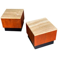 Pair of Midcentury Adrian Pearsall Cube Pedestal Tables in Walnut and Travertine