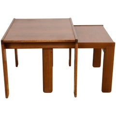 Pair of Midcentury Afra & Tobia Scarpa Italian Nesting Tables, Cassina, 1960s